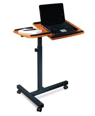 Pojízdný stolek pro notebook a projektor v barvě teakového dřeva Sixbros teak LT-001A/53